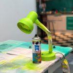 lámpara de mesa pintada con pintura removible verde